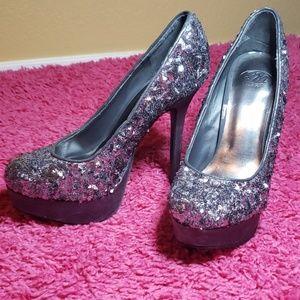 Sliver sequins heels